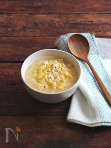 コーンと卵とチーズのスープ。