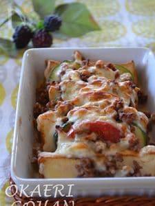 厚揚げと夏野菜のミートチーズ焼き