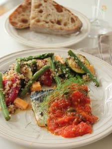塩鯖のハーブマリネソテー フレッシュトマトとオリーブのソース