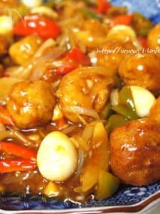 木綿豆腐肉団子のコチュトマソース炒め