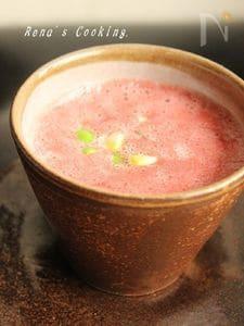 トマトの冷製スープ(枝豆・とうもろこし入り)