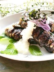 節約料理♡豚バラこま挟みハッセルバック茄子のポン酢焼き