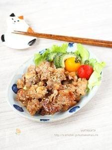 安い豚小間で!片栗粉でふんわり豚の生姜焼き