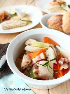 ベーコンと根菜のブレゼ(蒸し煮)
