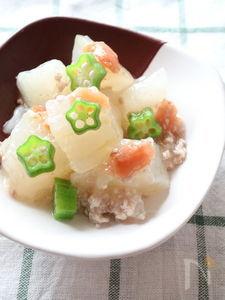 とろ~り冬瓜とおくらの梅煮