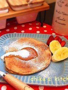 朝から体にいいよね♪乳製品&卵不使用♪豆腐と黒糖でパンケーキ