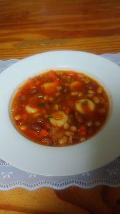 ジャガイモニョッキのチリコンカンスープ