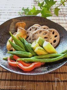 簡単☆サッと素揚げ野菜の紅白昆布だし漬け