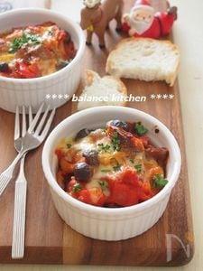 牛すじとたっぷり野菜のトマトグラタン