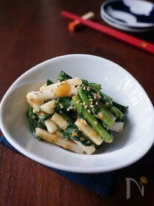 春菊と長芋のからし酢味噌和え