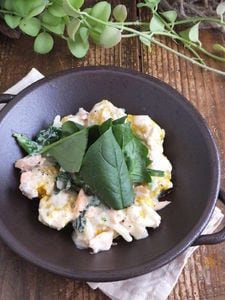 簡単!絞り出しカボチャニョッキ。鮭とほうれん草の豆乳クリーム