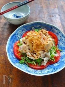 豆苗とトマトの豚しゃぶサラダ