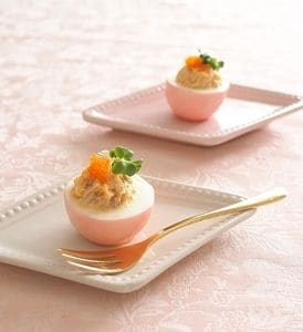 すし酢で簡単♪桜色 ゆで卵の甘酢漬け