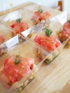 ひよこ豆とトマトドレッシングの冷製