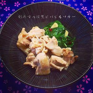 鶏のすっぱ煮とバジルソテー