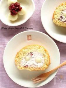 白玉団子の和風ロールケーキ