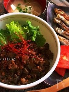 簡単/節約☆なすとひき肉の甘辛味噌丼
