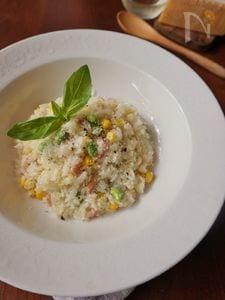 パルミジャーノと枝豆&コーンリゾット