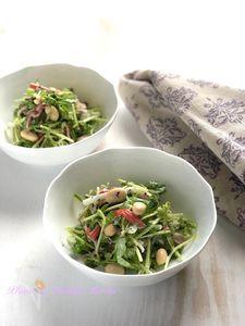キッチンばさみで作る!豆苗と蒸し大豆のゆかり和え