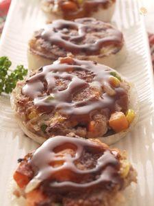 お好み焼風☆チーズIN玉ねぎハンバーグ〜☆お弁当にもいいね♬