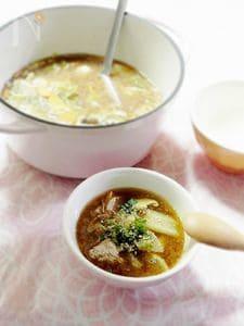 具だくさんの肉団子入り味噌スープ