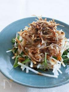 豚肉とカリカリごぼうのせ 中華風大根サラダ