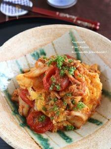 卵とトマトのキムチオイスター炒め