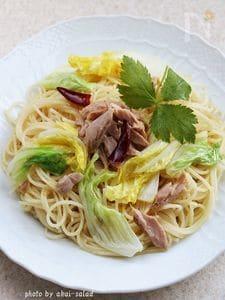 白菜とツナの和風ぺぺロンチーノ