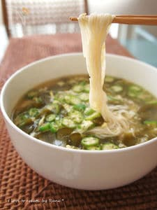 トロトロ芽かぶ汁のオクラ卵とじにゅう麺