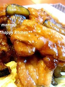 厚切り豚バラ肉と茄子のこってり甘辛焼き