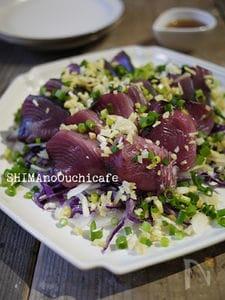 薬味とお野菜と一緒に♪彩り綺麗な 初鰹の五色サラダ風
