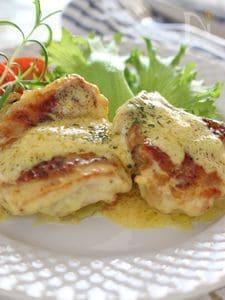 鶏肉のソテー、カレーチーズソース