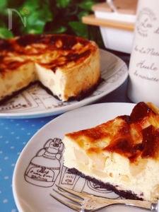 計り不要♪ゴロゴロりんごのヘルシーベイクドチーズケーキ風♡