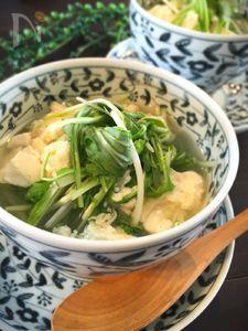 水菜とお豆腐とホタテのとろーり食べる和風スープ