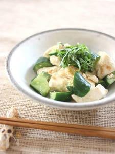 炒め豆腐のもろきゅう和え