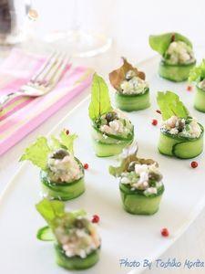 胡瓜とカニの前菜風サラダ