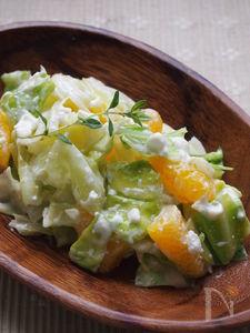 レンジ蒸しキャベツとオレンジのカッテージサラダ