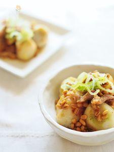 里芋と薄切り肉の醤油麦麹あえ