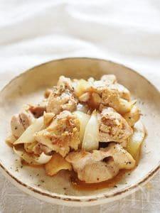 鶏肉と玉ねぎの粒マスタード炒め