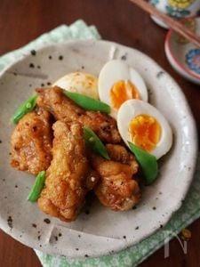 鶏手羽と玉子のピリ辛酢醤油漬け