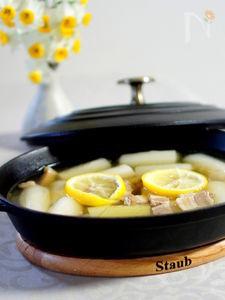 長ねぎとベーコンの和風スープ煮 柚子味