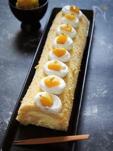 栗金団で作る♪モンブランロールケーキ