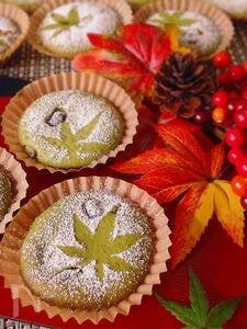サクふわ〜♪抹茶ミルクと甘納豆のカップケーキ♡マドレーヌ型で