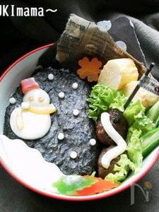 クリスマス~雪だるまチーズのゲレンデキャラ弁〜