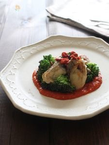 牡蠣とブロッコリーのソテー クコトマトソース