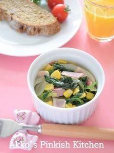 ほうれん草とベーコン&コーンのココットサラダ♡副菜レシピ♪