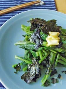 新定番。蒸し空芯菜と海苔のバター醤油
