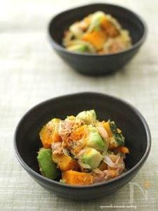 柚子胡椒風味☆南瓜とアボカドのツナ和えサラダ
