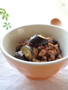 茄子と粗びき肉の梅肉味噌炒め