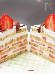 バームクーヘンでケーキをつくりました。 バームクーヘンケーキ